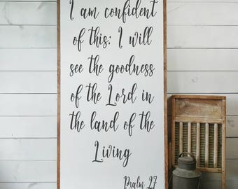 Psalm 27 Sign, FREE SHIPPING, Land of the Living, Goodness of the Lord, Scripture Sign, Bible Verse Sign, Christian Gift, Wooden Sign PS27