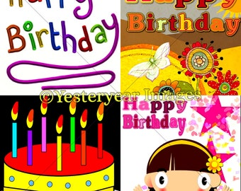 HAPPY BIRTHDAY Graphic Art - Digital Images - Collage Sheets - Instant Download - 3 PNG Files 4x4 - 2x2 - 1x1