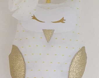 Cuddly OWL mobile in white satin and faux leather