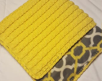 Crochet Cable Double-Sided, Fleece Lined,Thick,durable, Baby Blanket