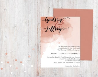 Wedding Invitation - Pink Watercolor {Customized Printable Invitation}