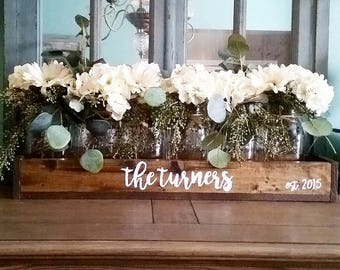 Mason jar centerpiece - Mason Jar table decor - Rustic Mason jar centerpiece - Rustic Home decor - farmhouse personalized home decor - mason