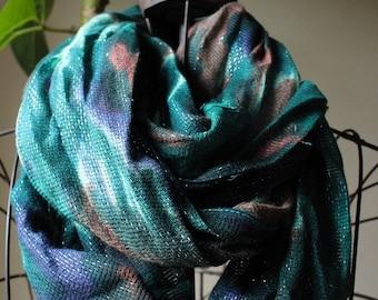 SALE Aqua print scarf