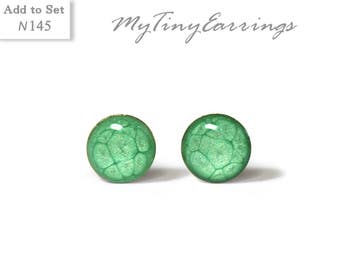 Green Stud  Earrings 6 mm, 4 mm, 3 mm  Round Tiny Epoxy Resin Mini Gift for Her - Gold Plated Stainless Steel Posts 145