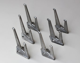 Set of 6 Soviet metal hooks, vintage metal hooks, Rustic hooks, Retro hooks, Vintage Hat and Coat Hooks, Iron Coat Hooks, minimalist hooks