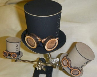 Steampunk Top Hat and Wooden Goggles Kit