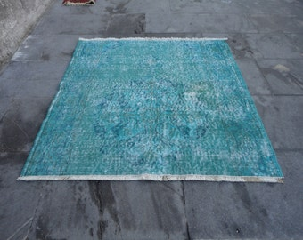 Overdyed rug,Turkish Vintage rug,over dye rug,oushak rug,low pile rug,36 x 35 inches,distressed rug,green color rug