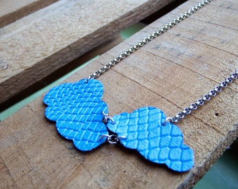 necklace clouds (leather), lasercut, blue leather necklace, blue clouds