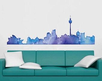 cik1798 Full Color Wall decal Watercolor Sydney Living room bedroom
