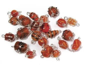 Orange glass beads with silver wire, from 12 to 25 mm RAY-3314100213