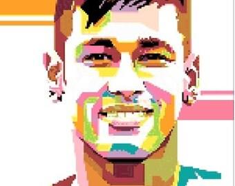 Neymar Jr. portrait cross stitch pattern