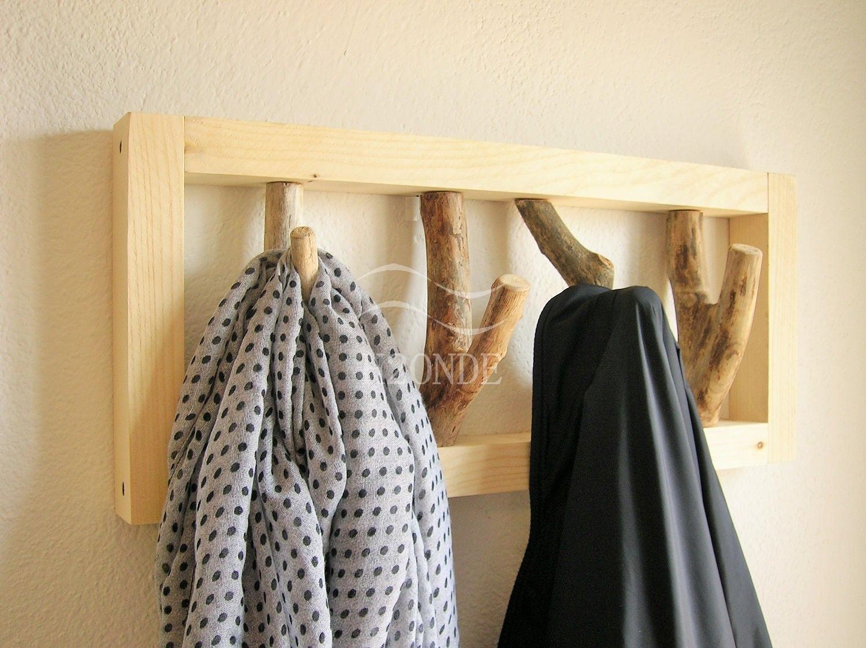 Attaccapanni appendiabiti parete muro legno rami ganci shabby for Rami secchi da arredo