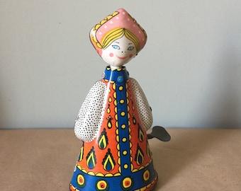 Tin Wind-Up Doll Russian Folk Costume Dancing Russian Lady