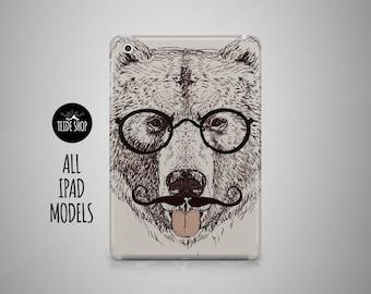 Bear Hipster iPad Case Animal iPad Mini Case iPad Air Case Tablet Case iPad Case iPad Mini 4 Case iPad Air 2 Case iPad Mini 3 Case Moustache