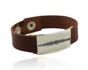Engraved Sound Wave Leather Bracelet - Audio File Heartbeat - Laser Engraved Bracelet - Actual Audio File