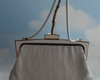 Genuine Glomesh Handbag, Evening Bag, Purse, Snake Chain Handle, Made In Australia, White Colour Gold Trim, Classic Iconic Vintage Style