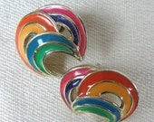 SALE // Vintage 1980s Rainbow Earrings 80s Colorful Enamel Stud Earrings