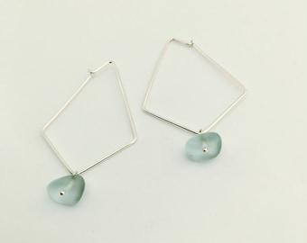 Geo. earrings. Sterling silver. Geometric hoops. Recycled glass. Beach glass