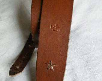 """handmade leather guitar strap made in France Urban Cam """" The 508 cappuccino"""""""