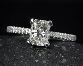 Forever One D-E-F Colorless Moissanite Radiant Cut Ring - Engagement Ring - Half Eternity Diamond Band