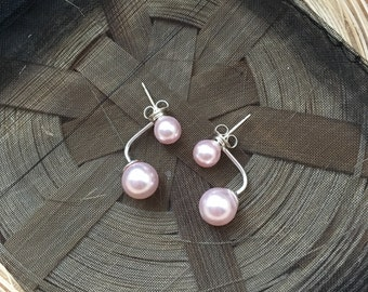 Sterling Silver and Rosaline Pink Pearl Ear Jacket  Earrings 6-8mm