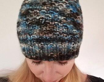 Black and blue skull cap