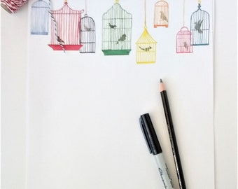 Bird cage Stationery, Writing paper, Letterhead, Watercolor art print, Colorful Birdcages, 20# 8 1/2 x 11 writing paper, 5 sheets