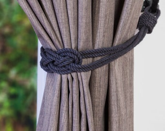 Charcoal Grey Cotton rope carrick knot curtain tiebacks small knot shabby chic nautical style beach house ivory white gray