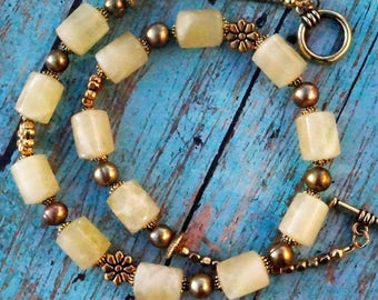 Agate Natural Gemstone Necklace, Handmade Beaded Necklace, Handmade Beaded Jewelry, Gemstone Statement Necklace, Unique Gift For Her