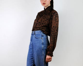 FREE SHIPPING Vintage 80s blouse, Leopard Blouse Leopard Shirt Leopard Top Leopard Print Blouse Animal Print Shirt, high collar blouse