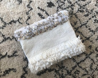 White Handira Moroccan Wedding Blanket Large Foldover Clutch Bag Boho Coachella Silver Sequins Embellished