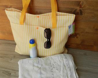 Beach bag, bag strap, tote bag, beach bag, tote bag, yellow, orange, lined, Pocket