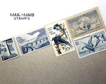 Birds in Blue || Set of rare unused vintage postage to mail 5 2 oz letters