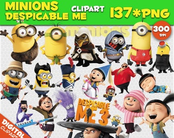 Minions Clipart Despicable Me Clipart 137 PNG 300dpi Images Digital Clip Art Instant Download Graphics transparent background birthday party