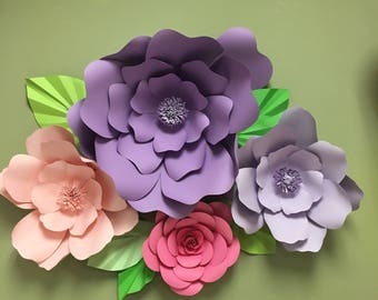 4 Giant paper flowers nursery soft pastel colors giant flower backdrops baby shower decor bridal shower