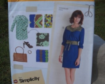 Misses' & Women's Itinerary Dress and Obi Style Belt - Frock Dress - Hard to Find Simplicity Lisette Sewing Pattern 2060 - Sizes 14 - 22