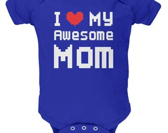 Mother's Day - I Heart My Awesome Mom 8 Bit Pixel Royal Soft Baby One Piece