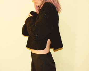 Handknit Sweater. Chunky crop sweater. Black Sweater. Turtleneck Sweater. Oversized pullover. Made to order