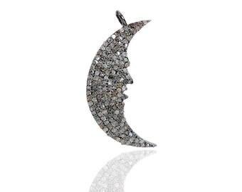 SDC-1755 Smilling moon - large Pave Diamond Charm