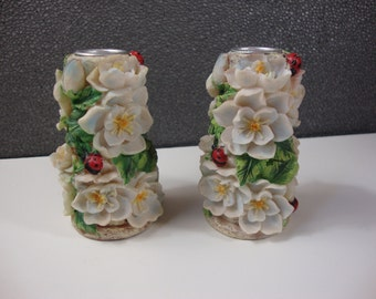 Pair of Vintage May Rich Candlestick Holders with Flowers and Lady Bugs Decorative Resin Candle Holders