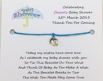 10 x Personalised Baby Shower Wish Bracelets Favours/Gifts