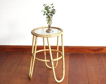 Vintage rattan flower table, wicker side table original Denmark canterburry 60s, scandinavian end table midcentury