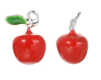 "1 silver plated enamel pendant charm ""Apple"" 19 x 15 mm"