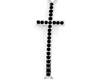 "5 connectors ""Cross"" in antique silver with black stones"