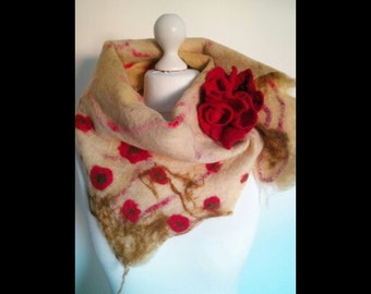Wet felted triangle scarf with brooch