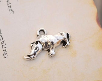 20 antique silver rhino charms rhinoceros charm pendant pendants  (HJ02)