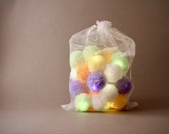 20 Pretty  pom-pom LED  fairy lights in green, yellow, orange, lilac & white