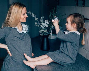 Mother daughter matching dress Mommy and me Mom and daughter matching outfit Girl gray dress with lace collar Toddler Baby dress