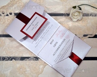 Ribbons and Bows Pocketfold Wedding Invitation - SAMPLE ONLY