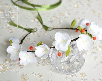 Flower crown Apple blossoms Wedding crown Wedding flower crown Spring crown Cherry blossom Boho wedding Hair accessories Bridal crown